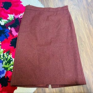 Pure Collection Burnt Orange Wool Pencil Skirt